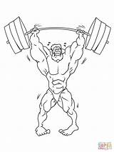 Strong Weightlifter Coloring Pages Drawing Weightlifting Gymnasium Lifting Weight Printable Training Drawings sketch template