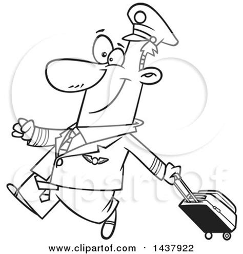11742 pilot clipart black and white royalty free rf clipart illustration of a happy pilot by