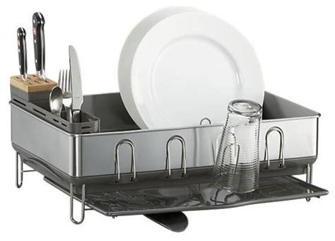 simplehuman steel frame grey dish rack modern dish