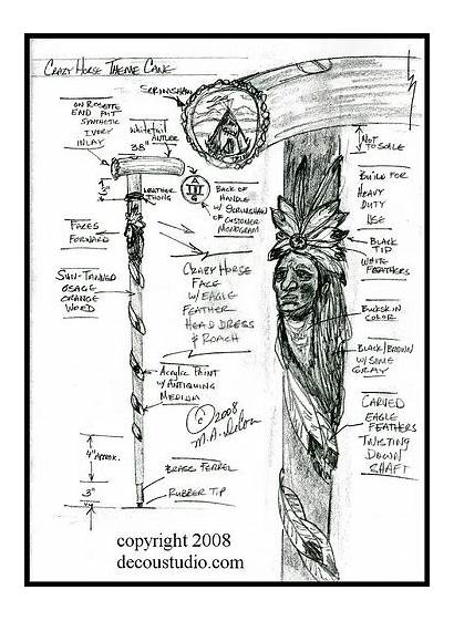 Cane Walking Feathers Carved Handle Antler Scrimshaw