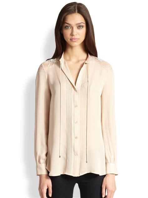 haute hippie blouse haute hippie silk laceback pintuck blouse in beige buff