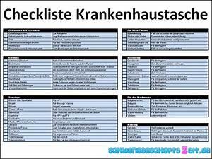 Checkliste Hausbesichtigung Ausdrucken : krankenhaustasche geburt checkliste kliniktasche packen ~ Lizthompson.info Haus und Dekorationen