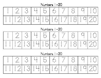 dotted numbers 1 20 writing strips by i heart teaching tpt