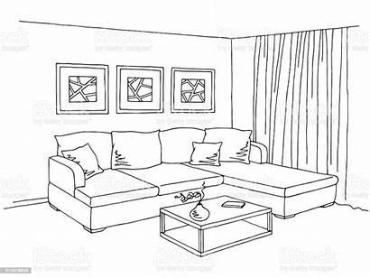 Living Sketch Interior Illustration Vector Graphic Apartment