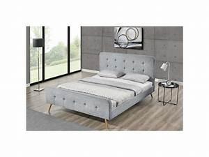 Cadre Lit 140x190 : lit lanka cadre de lit scandinave gris clair avec pieds ~ Dallasstarsshop.com Idées de Décoration