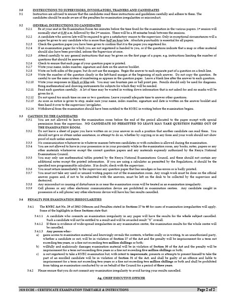 knec ecde exam timetable ecde certificate timetable