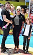 Christina Aguilera poses with her children inside of ...