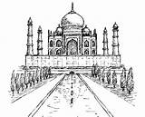 Taj Mahal Coloring India Pages Bollywood Building Adult Adults Palace Wonders Drawing River Coloriage Inde Yamuna sketch template