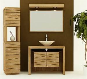 achat vente meuble de salle de bain teck nova 100 meuble With meuble salle de bain teck 100 cm