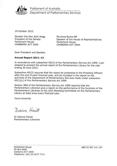 letters  transmittal parliament  australia