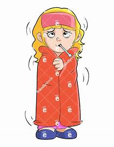 Sick Little Girl Wrapped In A Blanket Vector Clipart ...