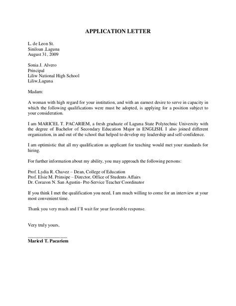 exle application letter best letter exles