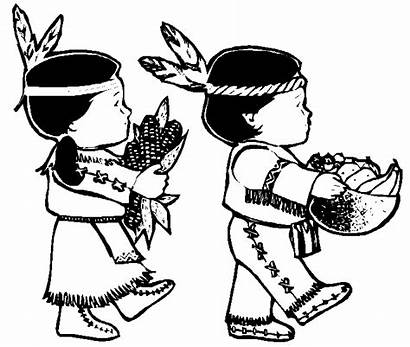Thanksgiving Coloring Pages Clipart Printable Child Native