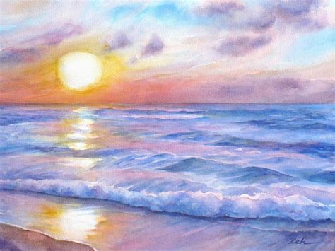 sunset hawaii seascape painting by janet zeh