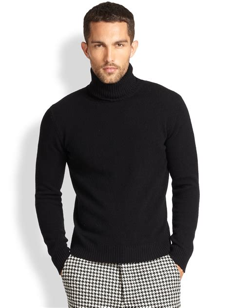 mens wool turtleneck sweater ami wool turtleneck sweater in black for lyst