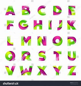 fun english alphabet green pink color stock vector With font letter app