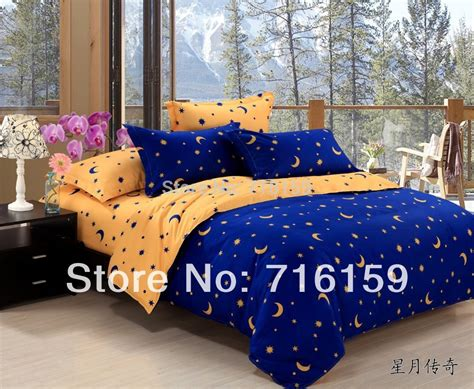 home textiles bedclothes blue and yellow star moon bedding