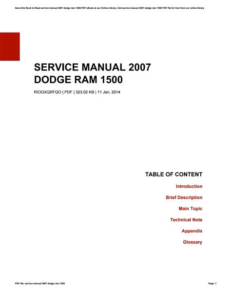 service and repair manuals 2007 dodge ram parking system service manual 2007 dodge ram 1500 by jamesmccarthy4818 issuu