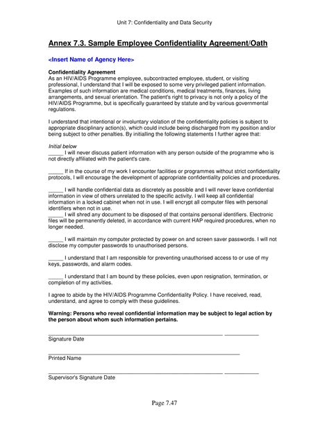 Non Disclosure Agreement Template Penalty Clause   CertificateTemplateWord.com