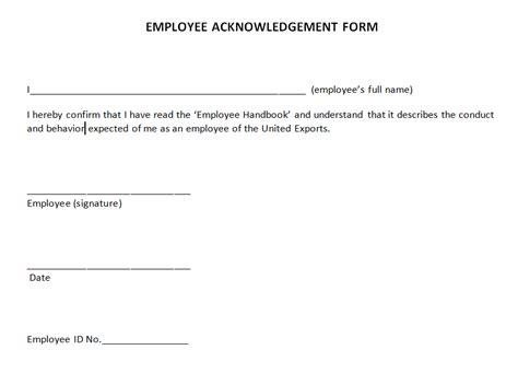 Policy Acknowledgement Form Template Images Template Design Ideas - Employee handbook acknowledgement form template