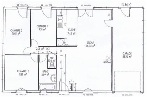plan maison plain pied 4 chambres garage plan interieur maison plain decoration interieur