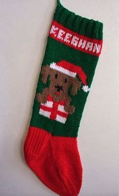 dog  present knitted christmas stockings dog