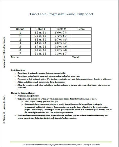 printable  table tally score sheets  euchre