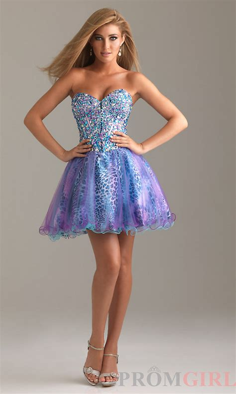 Short Strapless Prom Dress With Animal From Promgirl My