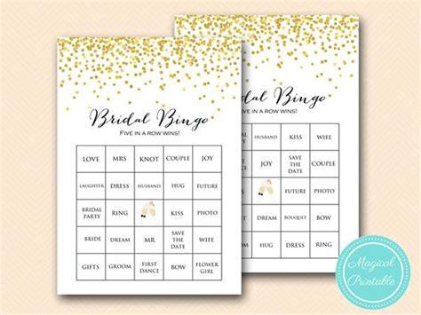 Prefilled Bridal Shower Bingo Cards Bridal Words Bingo Gold