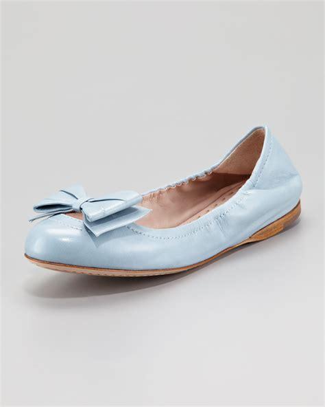 light blue flats miu miu ballerina bow flat light blue in blue lyst