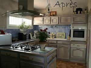 Relooker Meuble Cuisine : relooker cuisine rustique avant apres 14 repeindre meubles cuisine cuisine repeinte en gris ~ Mglfilm.com Idées de Décoration