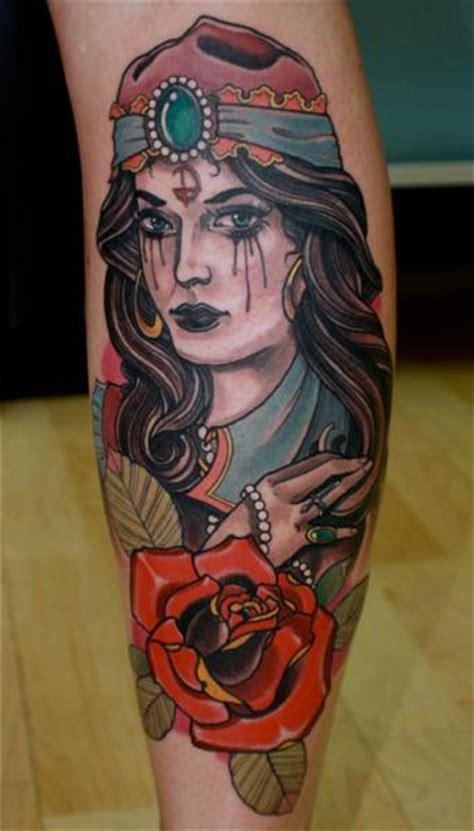 school calf gypsy tattoo  dagger lark tattoo