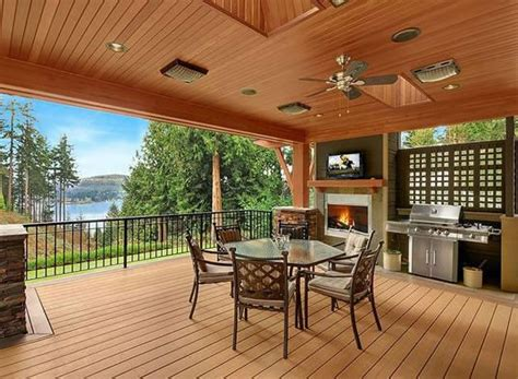 covered outdoor grill area this covered bbq deck features a fireplace and grilling area house plan no 332014 house plans