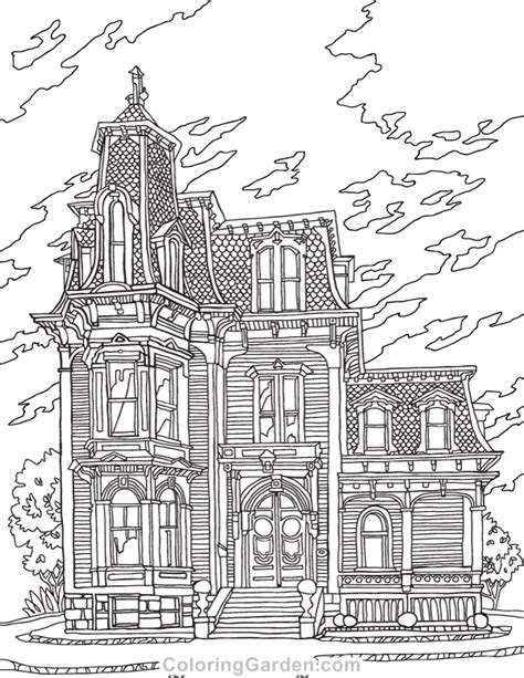 victorian house adult coloring page