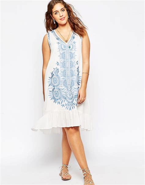 asos curve swing dress image 4 of asos curve v neck swing dress with embroidery