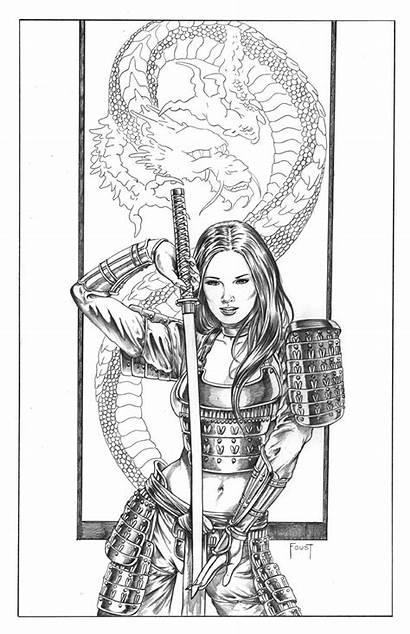 Samurai Female Knight Comic Sketch Tattoo Foust