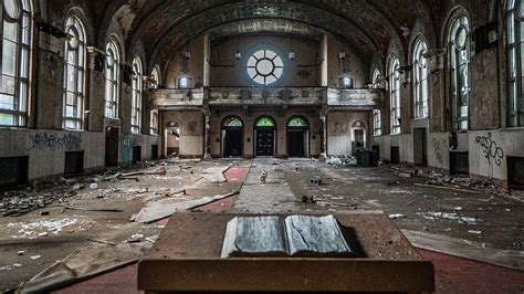 huge abandoned church  school nativity bvm cleveland