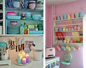 Decoration cuisine pastel for Idee deco cuisine avec deco cuisine scandinave
