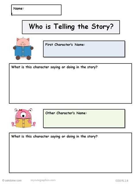 common core graphic organizer   telling  story