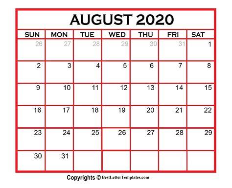 printable blank august  calendar