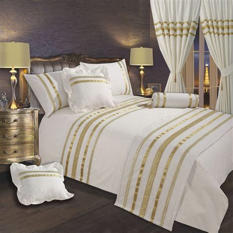 Bedspreads And Drapes - white gold ribbon 200 thread count cotton