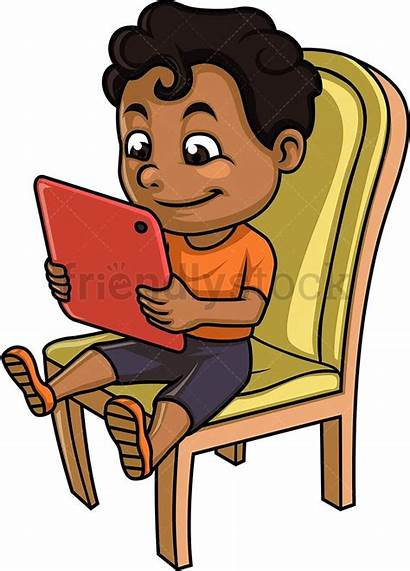 Tablet Clipart Cartoon Kid African Using Boy
