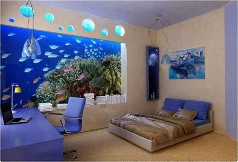 chambre aquarium idee deco chambre adulte peinture beige aquarium