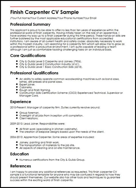 Construction Carpenter Resume Format by Finish Carpenter Cv Sle Myperfectcv