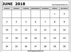 Blank June 2018 Calendar Printable