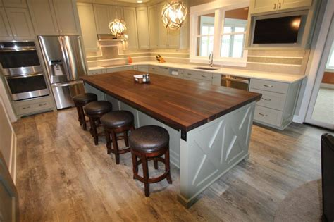 kitchen island butcher block tops remodelling transitional kitchen with walnut island