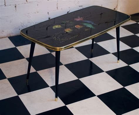vintage coffee table  hand painted glass top