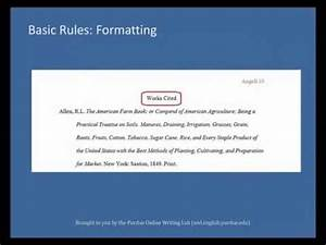 How To Format Work Cited Purdue Owl Mla Formatting List Of Works Cited Youtube