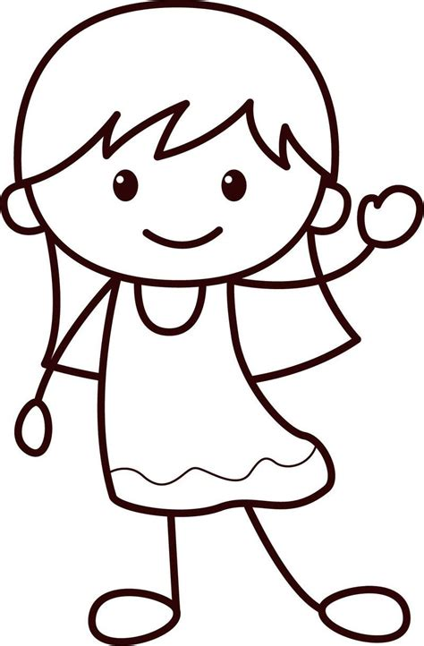 Happy Children Girl Coloring Page Coloring pages for