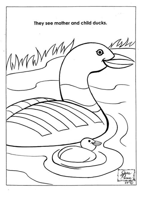 dibujo  colorear patos en parque natural img